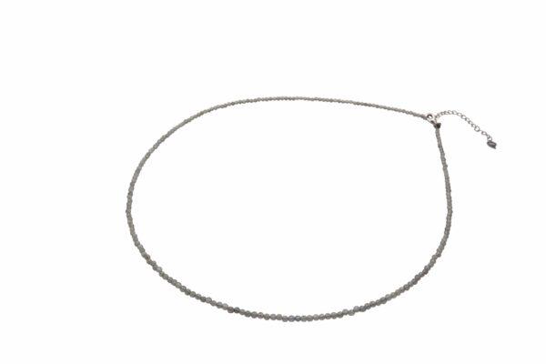 Labradoritkette schmal mit verstellbaren Silberverschluss