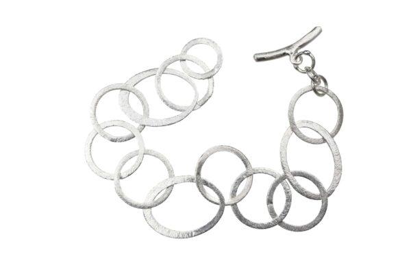 Silberarmband oval rund