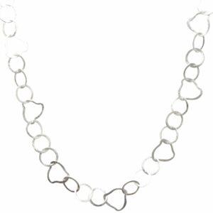 Silberkette rund und unförmige Dreiecke breit
