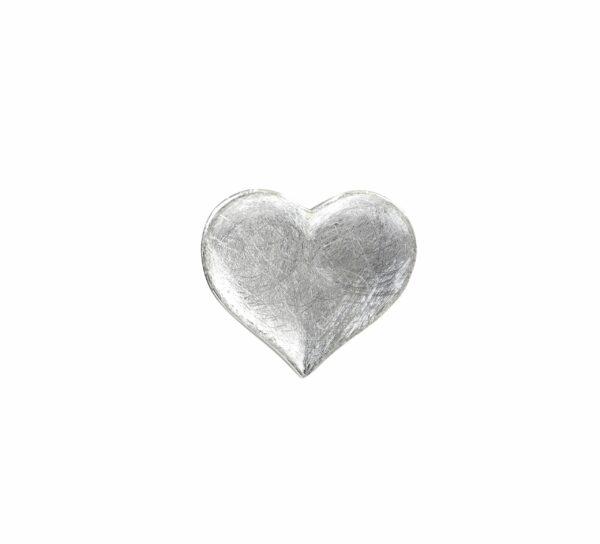 Silberner Herzschalenanhänger 10 mm gebürstet