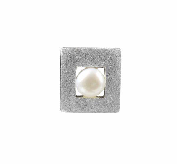 Silberquadratanhänger mit Perle gebürstet