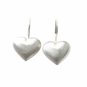 Silberohrhänger Herz massiv