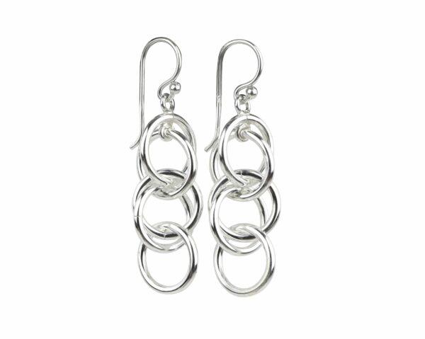 Silberohrhänger mit 5 Ringen breit