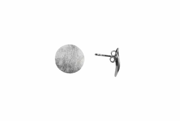 Silberohrstecker Kreis gewellt/gebürstet quer