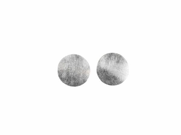 Silberohrstecker Kreis gewellt/gebürstet