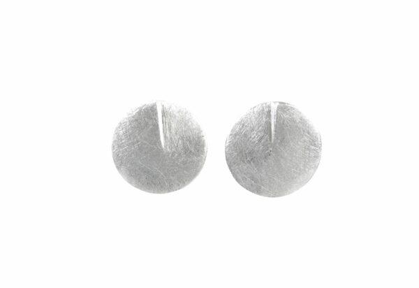 Silberohrstecker runde Platte mit Einkerbung