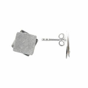 Ohrstecker 2 quadratische Platten gebürstet/glatt