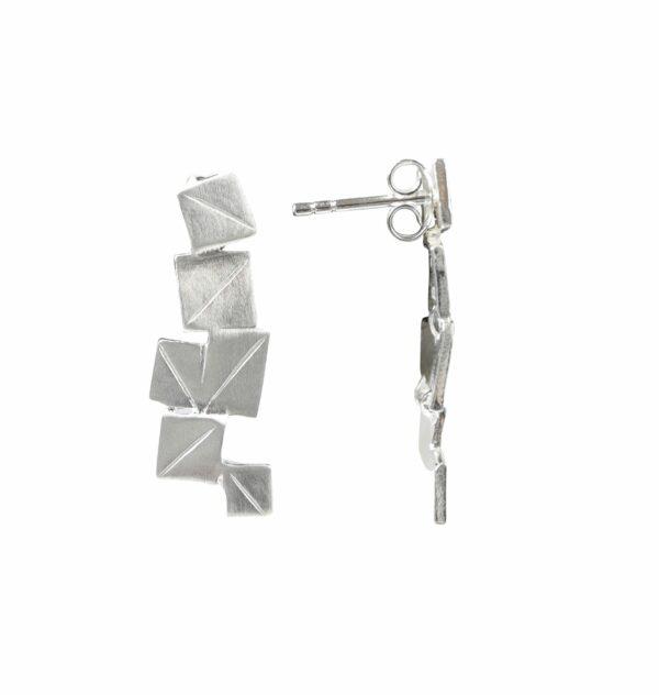 Silberohrstecker quadratisches Plättchen quer