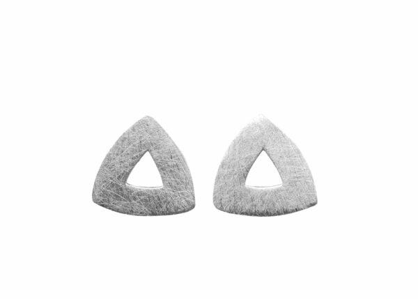 Silberohrstecker Dreieck gebürstet durchbrochen