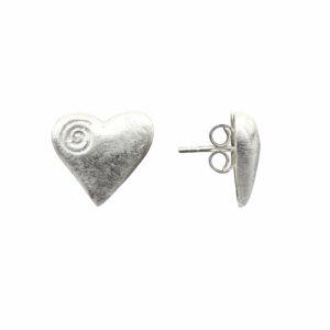 Ohrstecker großes Herz mit Spirale
