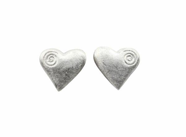 Silberohrstecker grosses Herz mit Spirale