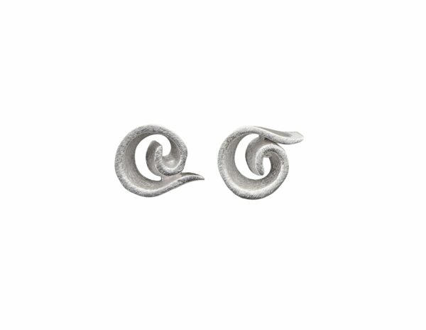 Silberohrstecker Spiralen innen gebürstet außen glatt