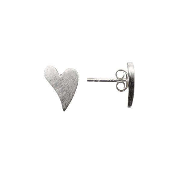 Silberohrstecker Herz moderne Form quer