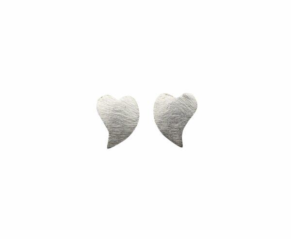 Silberohrstecker Herz alte Form gebogen