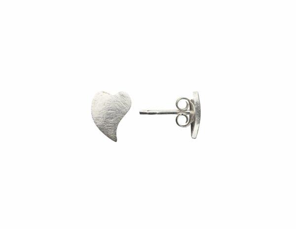 Silberohrstecker Herz alte Form gebogen quer