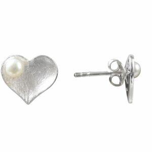 Ohrstecker Herz mit Perle