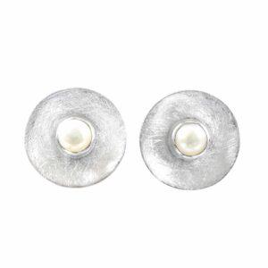 Silberohrstecker rund/gebürstet mit weisser Perle