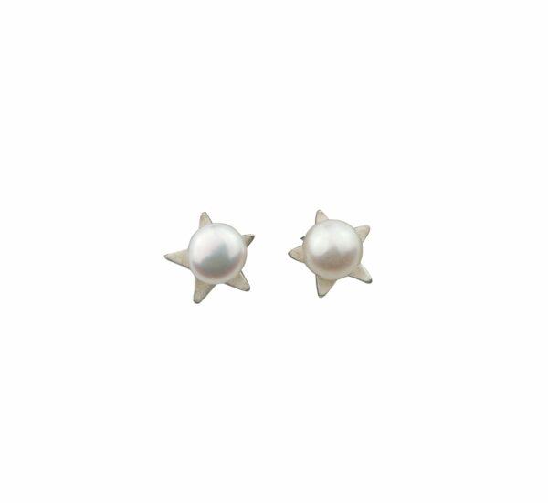Silberohrstecker Stern mit Perle
