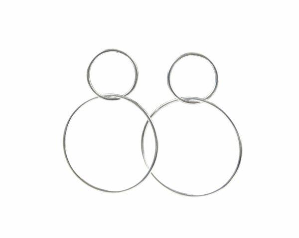 Silberohrstecker 2 Kreise groß