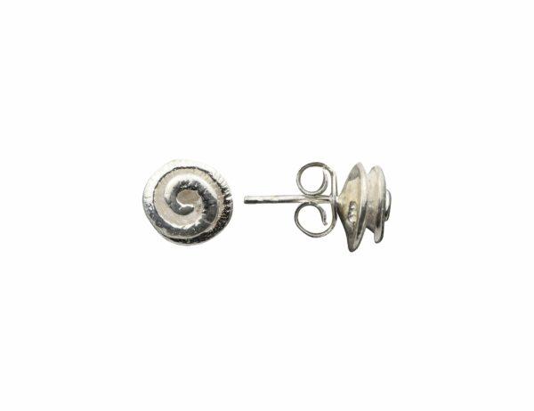 Silberohrstecker Schneckenspiralen hochgedreht quer