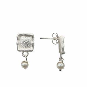 Ohrstecker Rechteck geweisselt mit angehängter Perle