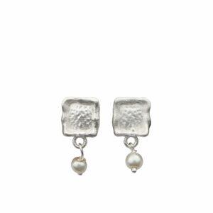 Silberohrstecker Rechteck geweisselt mit angehängter Perle
