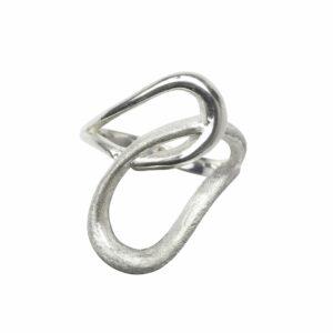 Ring aus 2 Lasso`s matt/glatt Silber