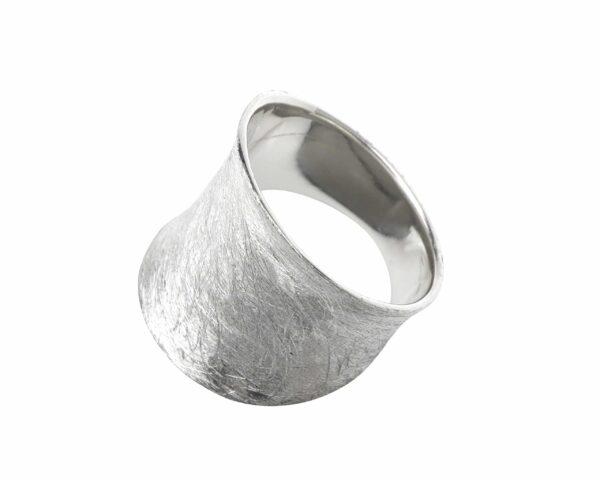 Ring schlicht gebürstet breit Silber quer