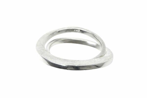 Ring mit 2 mattierten Ringen schmal/breit Silber
