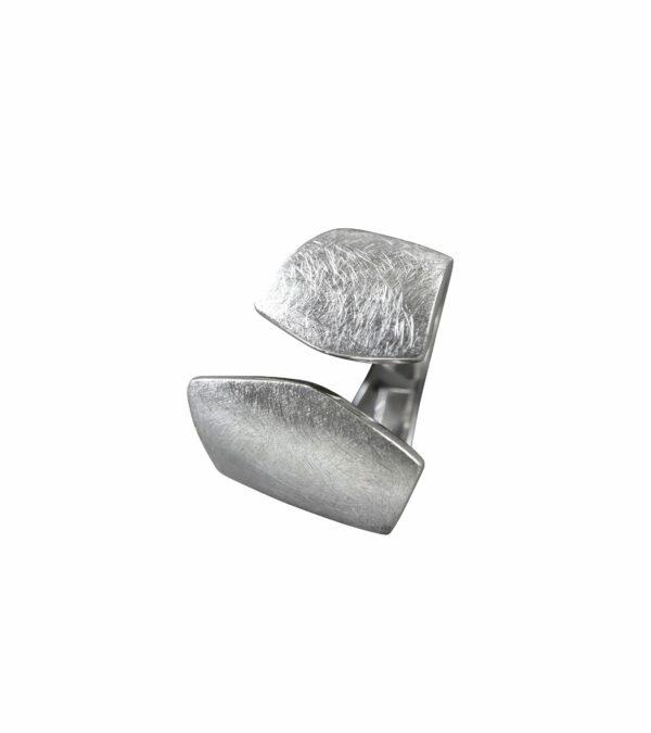 offener Ring gebürstet Silber