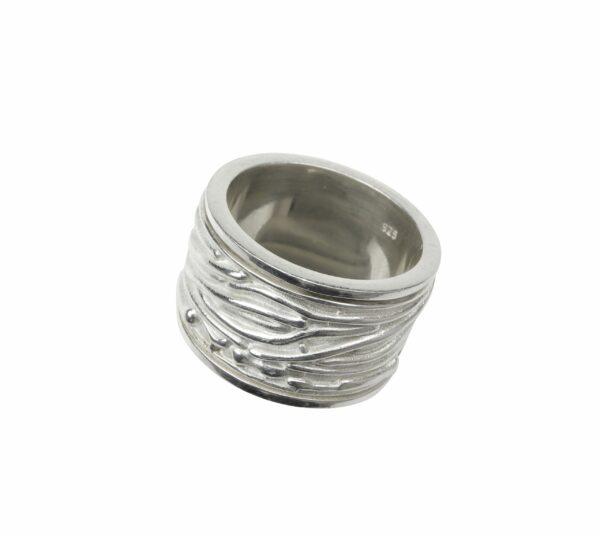 Doppelring mit innen gefaltet Silber