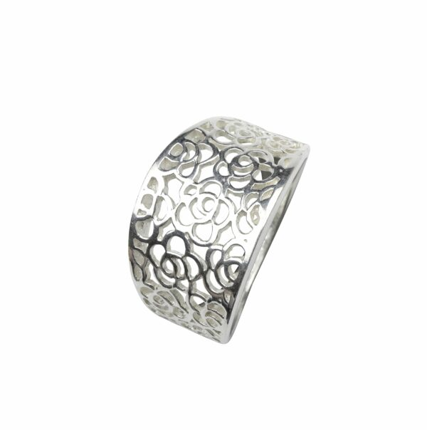 Ring mit durchbrochenen Rosen Silber