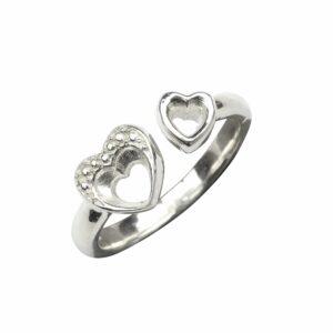 Ring mit 2 Herzen klein/gross offen