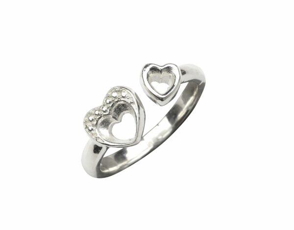 Ring mit 2 Herzen klein/groß offen Silber