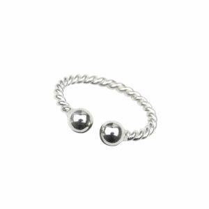 Ring wie Seil mit Silberkugeln offen Silber