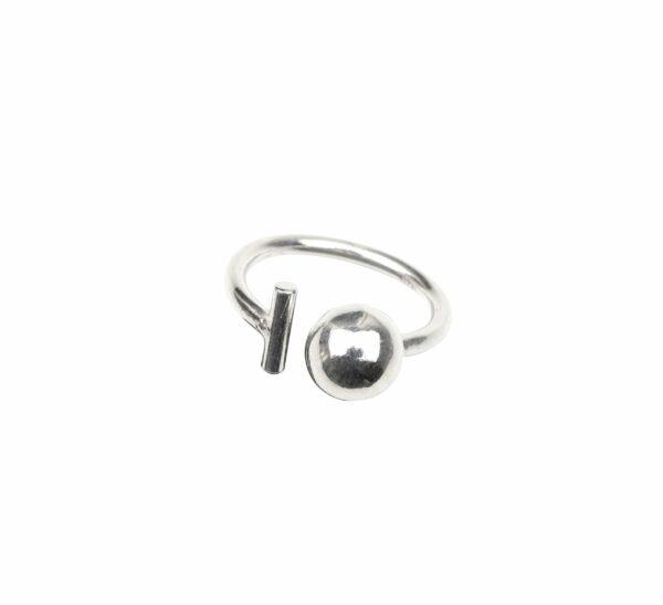Ring mit Kugel und Stab offen (kleiner Stab) Silber