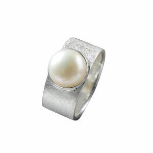 Ring gebürstet mit Perle