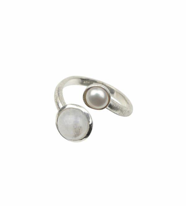Offener Ring gebürstet mit Perle und Mondstein Silber