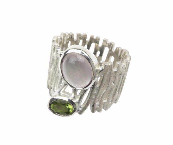 Silberring gebürsteter Zaun mit Rosenquarz und Peridot
