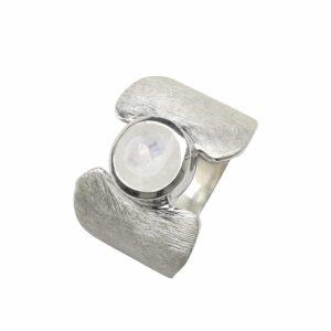 Silberring gebürstet mit Mondstein breit mit Verengung