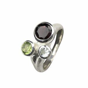 Silberring mit 3 Steinen bunt