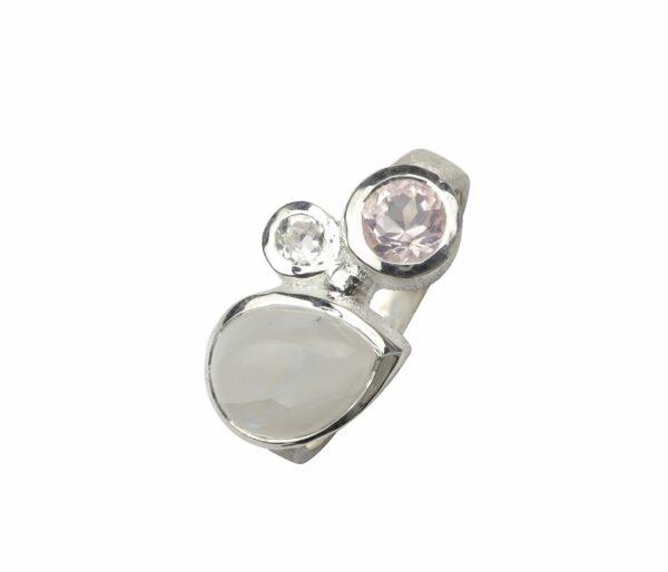 Silberring mit 3 Steinen rosa by bambé 925er Sterlingsilber