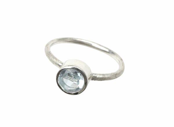 Silberring matt mit Aquamarin rund groß