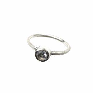 Silberring matt mit Aquamarin rund