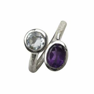 Ring gebürstet offen mit 2 Steinen Aquamarin/Amethyst