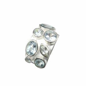 Silberring breit mit mehreren Aquamarin