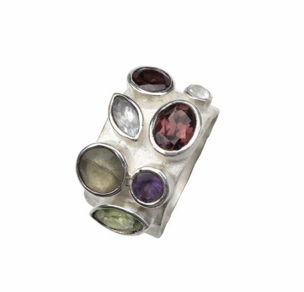 Silberring breit mit mehreren untersch. Steinen (Bunt)