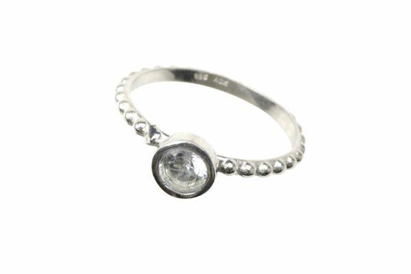 Silberperlenring mit kleinem Zirkon by bambé 925er Sterlingsilber