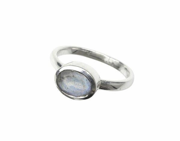 Silberring glatt mit Labradorit oval