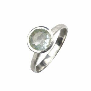 Ring glatt mit Aquamarin groß rund